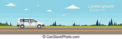 mini fourgon, voiture, sur, route, bannière, plat