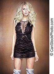 mini, frau, dress., schwarz, blond
