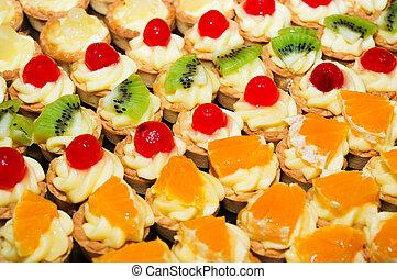 mini fruit tarts with various fruit