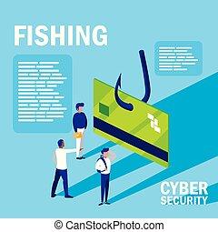 mini, gens, cyber, crédit, sécurité, carte