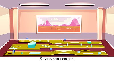 mini golf, club, dentro, vector, interior, caricatura