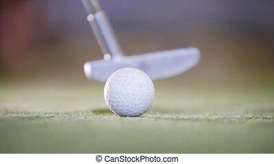mini golf, golf., haut, frapper, crosse, fin, jouer, ball.