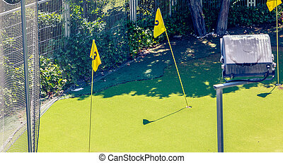 mini golf practice in town with green and flags