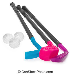 Mini golf set, toy for children, plastic golf stick and balls.
