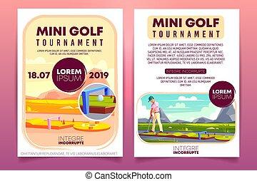 Mini golf tournament ad flyer vector template
