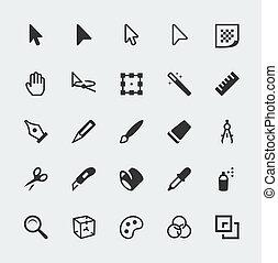 mini, gráfico, conjunto, iconos, vector, redactor