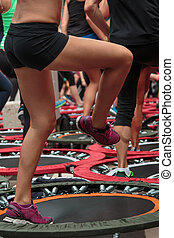 mini, gymnase, trampoline, workout:, fitness, girl, classe, exercice