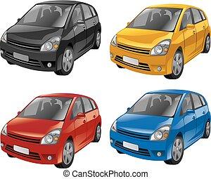 mini hatchback cars - illustration of mini hatchback cars in...