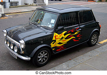 Tricked out Austin Mini in London