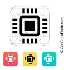 mini, icon., vettore, cpu, illustration.