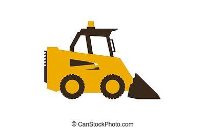 mini, illustration., lustroso, machinery., loader., vetorial, construção, style., ícone