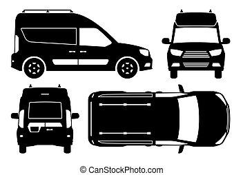 mini, illustration, vue, côté, sommet, vecteur, silhouette, dos, fourgon, devant