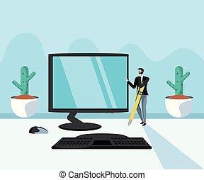 mini, informatique, lieu travail, homme affaires, bureau