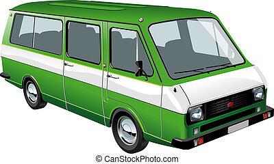mini, isolato, autobus