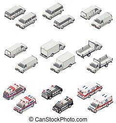mini, jogo, polícia, carga, ícones, minivan, comercial, caminhão, tábua, ambulância, furgão, passageiro