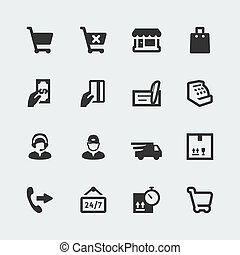 mini, jogo, shopping, ícones, e-store, vetorial