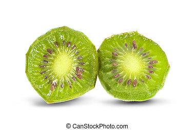 mini kiwiberry fruit on white background