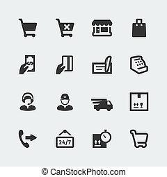 mini, komplet, zakupy, ikony, e-store, wektor