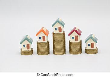 mini, market., kockáztat, tényleges, bizonytalanság, ingatlan, fogalom, épület telep, befektetés, érmek, fehér ház, kazal, háttér.