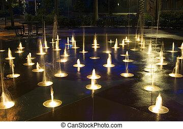 mini, marznąć, woda, 2, fontanna, czyn