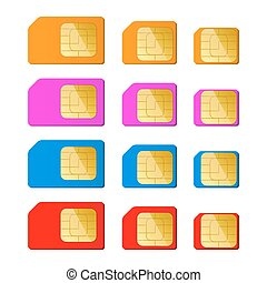 Mini, micro, nano sim card in red, blue, pink, orange color