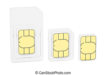 Mini, micro, nano sim cards, 3D rendering isolated on white...