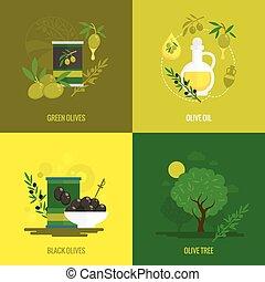 mini, olives, ensemble, affiche
