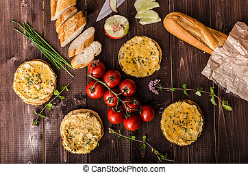 Mini omelets crunchy pastry, fresh tomatoes and lots of...