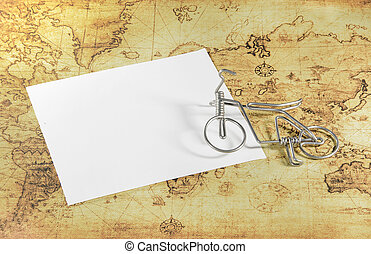 mini, oud, kaart, papier, wereld, fiets, witte