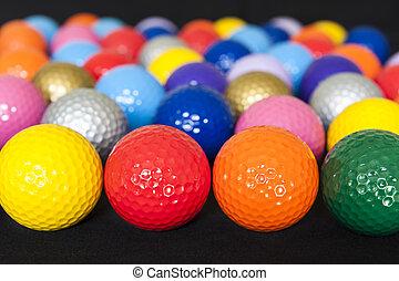 mini, pelotas, golf, variado