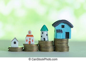 mini, pengar., begrepp, besparingpengar, köpa, hus, hem, stack
