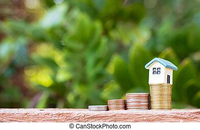mini, pengar., begrepp, hus, investering, stack, property.