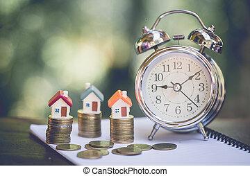 mini, pengar., stack, hus