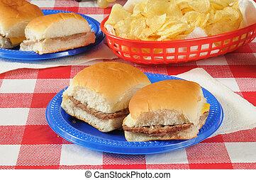mini, picnic, cheeseburgers, tavola