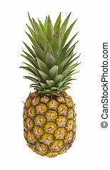 Mini pineapples with straw, isolated on the white...