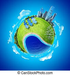 City, ocean, forest, wind turbines
