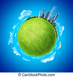 Mini planet concept. City on horizon and empty space on fresh green field. Earth collection.