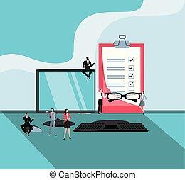 mini, professionnels, informatique, lieu travail, bureau