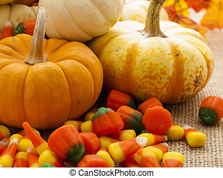 Candy corn cornucopia. Candy corn overflowing from ...
