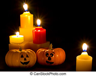 Mini Pumpkins with Funny Faces and Candles