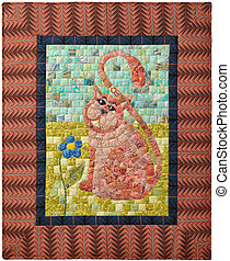 Mini quilt with the image of a cat, made in mosaic technique