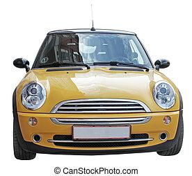 mini, sárga autó