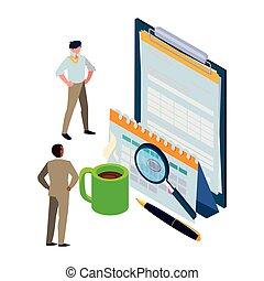 mini, sätta, kontor, affärsverksamhet ikon, folk, skrivplatta