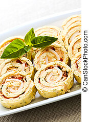 Mini sandwich spiral roll appetizers