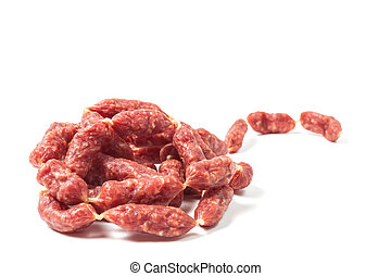 Mini sausages on white background