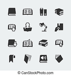 mini, set, iconen, vector, boekjes , lezende