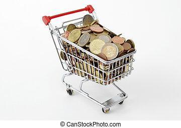 Mini shopping cart with euro coins