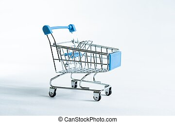 Mini shopping trolley isolated