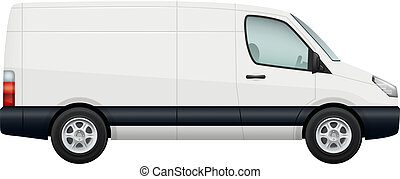 mini skåpbil, isolerat, vektor, bil., minivan, vit, sida se