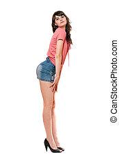 mini, skirt., jean, isolé, espiègle, girl